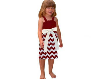 Deep Red + White Chevron Game Day Dress- Girls