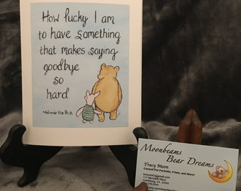 classic winnie the pooh greeting card miss you card saying goodbye love thinking of you going away moving leaving home