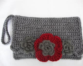 Crochet Clutch Bag Lovely Gift Grey with Red Flower Motif Beautiful Handmade Purse ALL PACKAGED AND Ready To Go