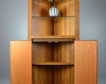 Retro Teak Corner Cabinet Dresser Cupboard