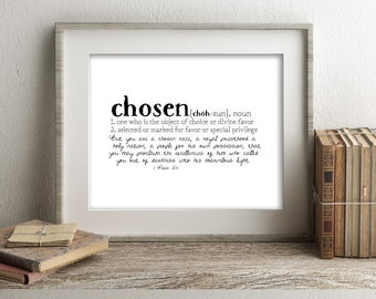 CHOSEN Defined Series Printable Art, 1 Peter 2:9, Definition Print, Affordable Home Decor, Scripture, Typography, Minimalist Art