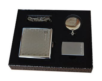 Personalized Cigarette Case, Pocket Watch and Lighter Set / Custom Engraved Name