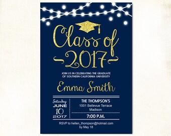 Graduation Party Invitation / Grad Invite / Navy Blue Glitter Gold / Royal Blue / Class 0f 2017 / Fairy String Lights / Printable Digital