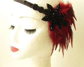 Black Burgundy Maroon Red Feather Headband 1920s Flapper Headpiece Vintage 1155