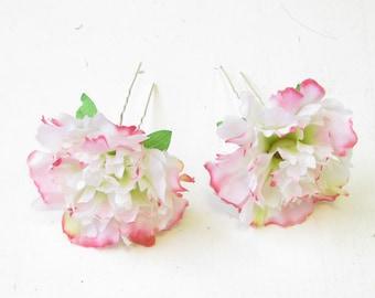 2x Blush Pink White Carnation Flower Hair Pins Bridesmaid Floral Rockabilly 1561