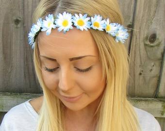 Light Blue White Daisy Flower Garland Headband Hair Crown Festival Boho 1912