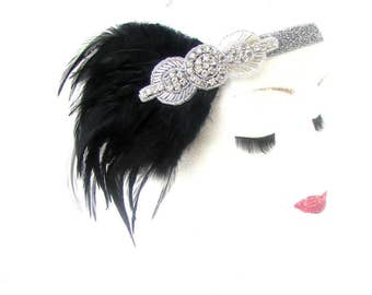Black Silver Feather Headpiece 1920s Headband Flapper Great Gatsby Vintage 2178