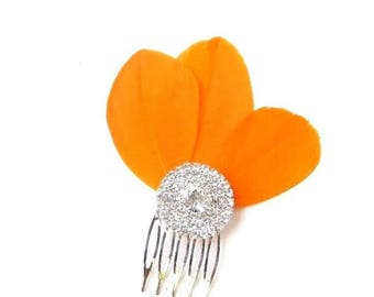 Orange Feather Fascinator Hair Comb Silver Diamante Bridesmaid 1920s Clip 2361