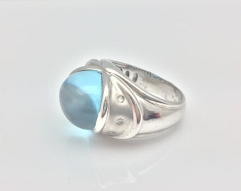 Blue Topaz Ring with Diamond Accent Set in 18k White Gold // Size 7