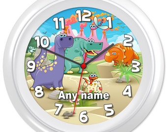 Dinosaur Clock Dino TRex Prehistoric Jurassic Natural History Gift #5 - Can be personalised (6570)