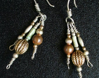 Vintage Earrings silvertone beaded gold tone long 2' Dangle Fringe Pierced green brown Coachella boho Festival casual Moroccan hippie mod