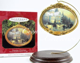 1997 Hallmark Thomas Kinkade Victorian Christmas Keepsake Ornament 1st in Series #1 First Porcelain Painter of Light