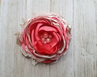 Coral and ivory couture headband