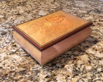 3135 Reuge music box, reuge musical jewelry box, burlwood music box, burlwood jewelry box!