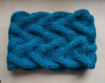 Teal Cabled Cowl - Ready to Ship