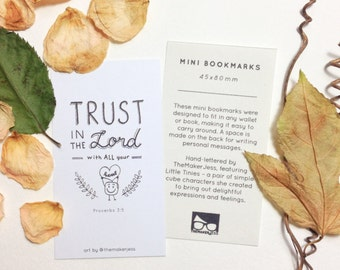 Trust in the Lord Heart Encouraging Bible Verse Mini Bookmark (Pack of 10)