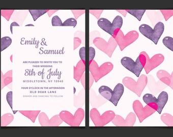 Wedding Invitations Printed Wedding Invite Watercolor Hearts Wedding Invitation A6 Wedding Stationary Wedding Invites Wedding Day