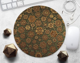 MousePad Gold Flowers Mouse Pad Green Mouse Mat Fashion Mouse Pad Rectangular or Round MousePad Style MouseMat Accessories Office Supplies