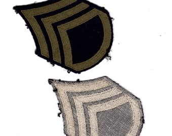 Vintage Army WWII WW2 Staff Sergeant Patch - Olive Drab on Black Wool ~3 x 4 1/2 inches
