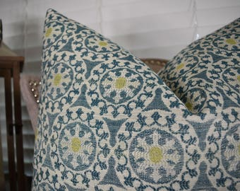 Teal Yellow Cream Geometric Pillow Cover - Teal Blue Pillow - Teal Couch Pillow -Teal Geometric Pillow - Designer Throw Pillow Cover - 11155