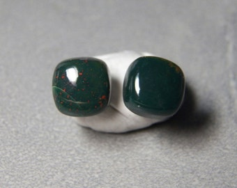10mm Bloodstone Cushion Gemstone Post Earrings with Sterling Silver