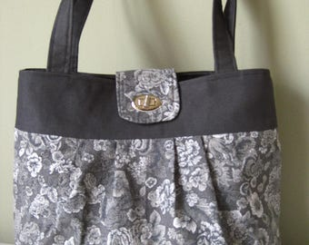 Handbag Purse Fabric Handmade Women's Accessories Gray & White Floral Cotton