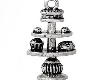 3 Afternoon Tea Cake Stand Tibetan Silver Charms (292)
