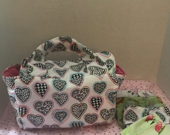 Doodle Hearts Baby Doll Diaper Bag