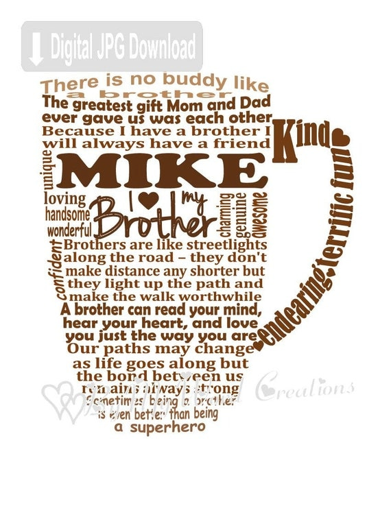 Brother Word Art Brother Coffee Mug Art Gift for Brother