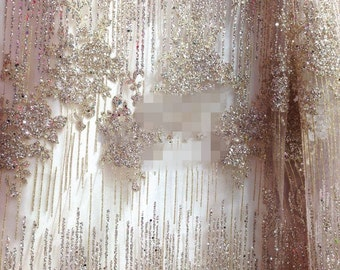 Golden Floral Beaded Lace Fabric Beaded Fabric Curtain Embroidered Fabric  S0305