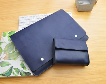 Handmade Blue Leather New Macbook Pro Case 13inch /15inch New Macbook Sleeve Genuine Leather New Macbook 12inch Case Leather Laptop Bag-083