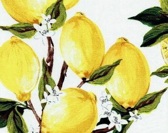 "Fabric ""Freshly Squeezed"" Retro Lemon Fruit Print Yellow Lemons - By the Yard"