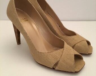 Stuart Weitzman Linen Open Toe Heels-Linen Pumps