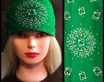 Green Bling Bandana Full star