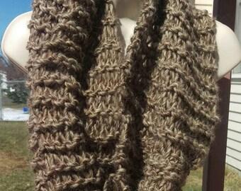 Big,Soft&Fluffy Knit Wool Cowl/Scarf/Wrap-Oatmeal