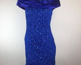 Vintage 80s Zum Zum Prom Dress Ruched Sequin Lace Off Shoulder Sz 10 Mini Blue Party