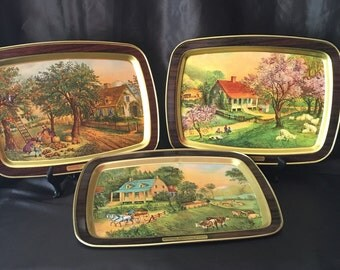 Currier and Ives 1868 Three Seasons Metal Trays ~ American Homestead - Autumn~ Spring ~ Summer ~ 14.5 inches long ~ Set of Three ~ Vintage