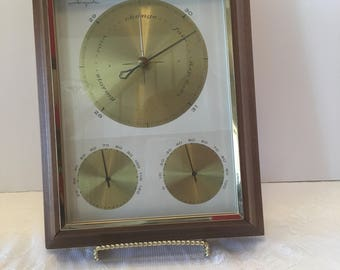 Airguide Barometer Weather Station ~ Gold Trim ~ Made in USA ~ Temperature & Humidity Gauges ~ Hardwood Case ~ Mid Century ~ Vintage