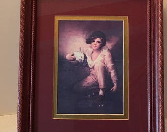 Boy with Rabbit ~Fine Art ~ Framed Picture ~ Beaux Arts ~ Made in USA ~ Vintage