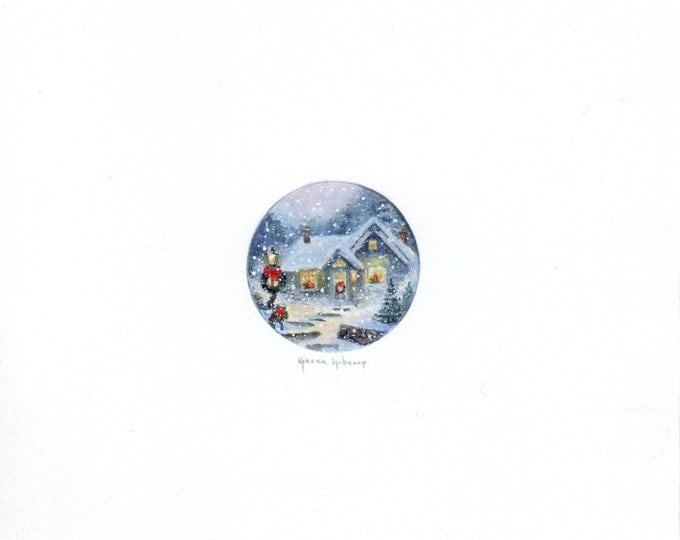 """Print of miniature painting of a Winter Christmas Night. 1 1/4 x 1 1/4"""" print of a Christmas Eve painting on 5"""" square german etching paper"""