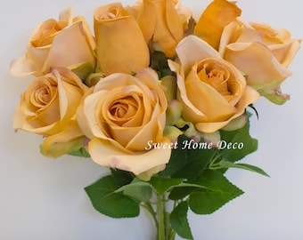 JennysFlowerShop 18'' Silk Rose Artificial Flower Bouquet (9 Stems/9 Flowers) Wedding Home Decorations (Gold)