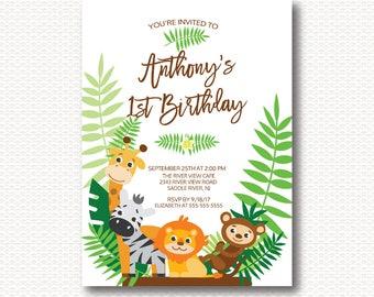 Safari First Birthday Invitation, Jungle, Safari, 1st Birthday, One, Cute, Monkey, Lion, Giraffe, Zebra, Boy, Girl, Digital, Printable,