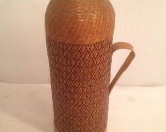 Vintage Thermos glass + braiding wood Rare Vintage