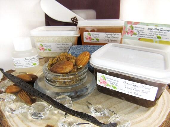 Natural Almond Brown Sugar Scrub Sugaring Wax Deluxe Starter Kit