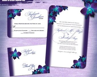 Blue Orchid Wedding Invitation Set Digital, Printable Wedding Invitation Suite, Purple Orchid Invitation Printable, Printable Invitations