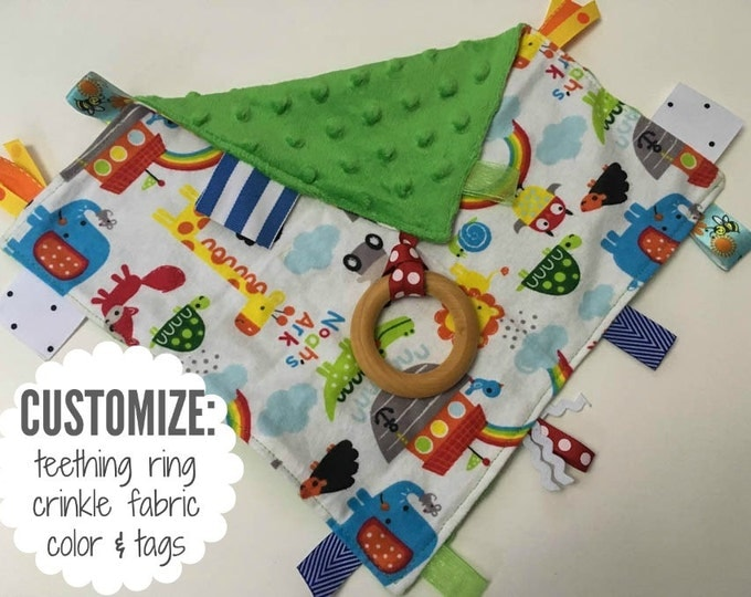 Baby Sensory Tag Blanket | Options: Natural Teething Ring, Crinkle Material, Color | Noah's Ark