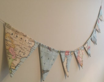 Vintage World Map Bunting - Light Blue - Twine - Travel - 8 Flags - Map - Atlas