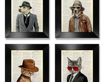 Cool Cat ART PRINT Set, Geek Dog Art Print Set, DICTIONARY Art Print Set of 4, Geek Cat Poster Art Print, Fun Dog Poster Art Print in Cloths