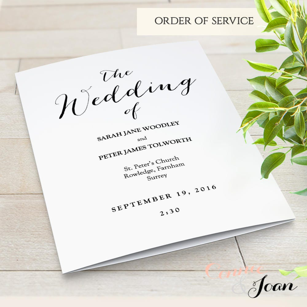 Booklet wedding program template church order of service for Wedding blessing order of service template