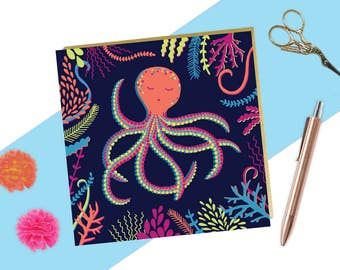 Colourful Octopus Card - Octopus Illustration - Quirky Birthday Card - Any Occasion Card - Tropical Card - Nautical Drawing - Nautical Card